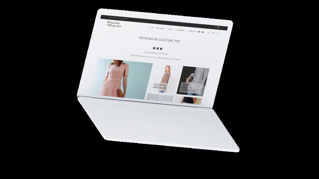 Site e-commerce de Blanche x Blanche, réalisé par La Quincaillerie, agence web