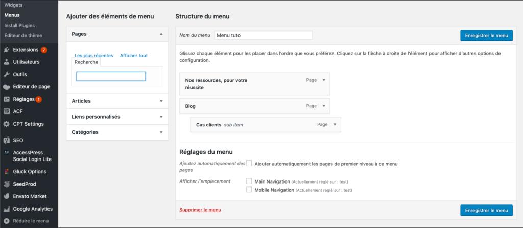 créer gérer menu wordpress